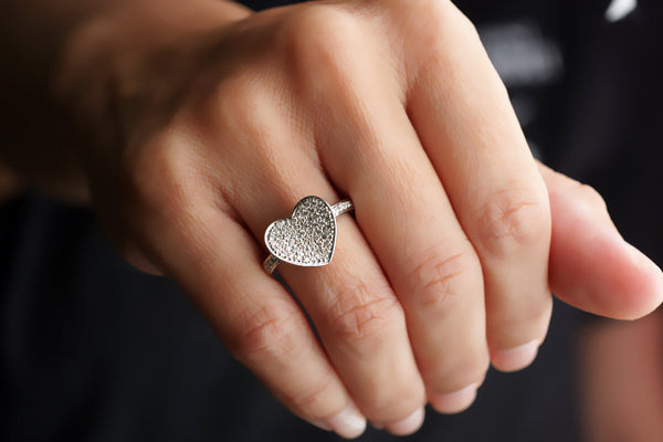 Heart Pave Diamond Ring (1/2 inch)