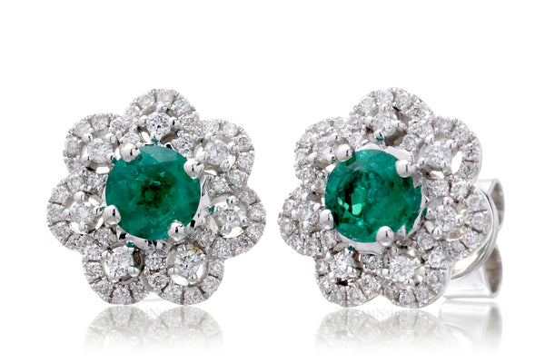The Marguerite Emerald & Diamond Studs