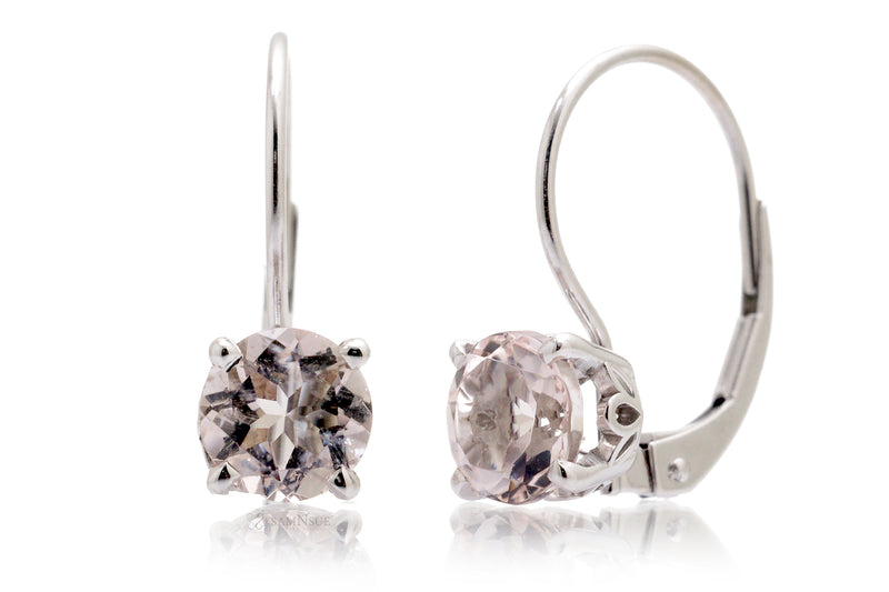 Pink Morganite Earrings Lever Backs 6mm Round In White Gold