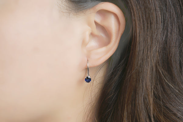 Sapphire Round Lever Back Earrings (5mm Ceylon)