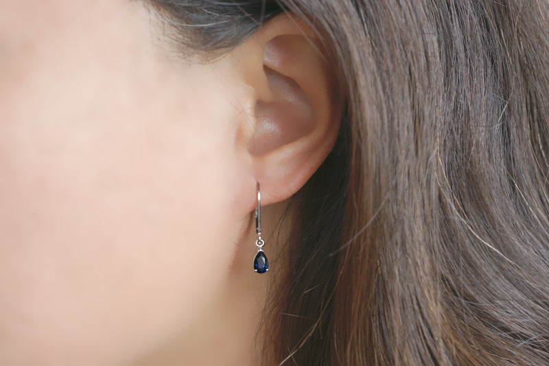 Sapphire Pear Lever Back Dangles