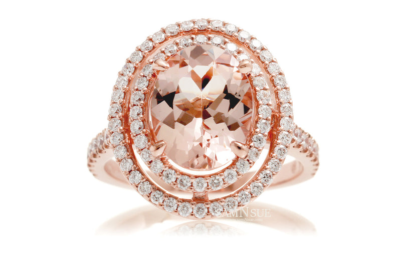 The Steffy Double Halo Oval Morganite