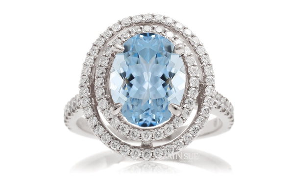 The Steffy Double Halo Oval Aquamarine