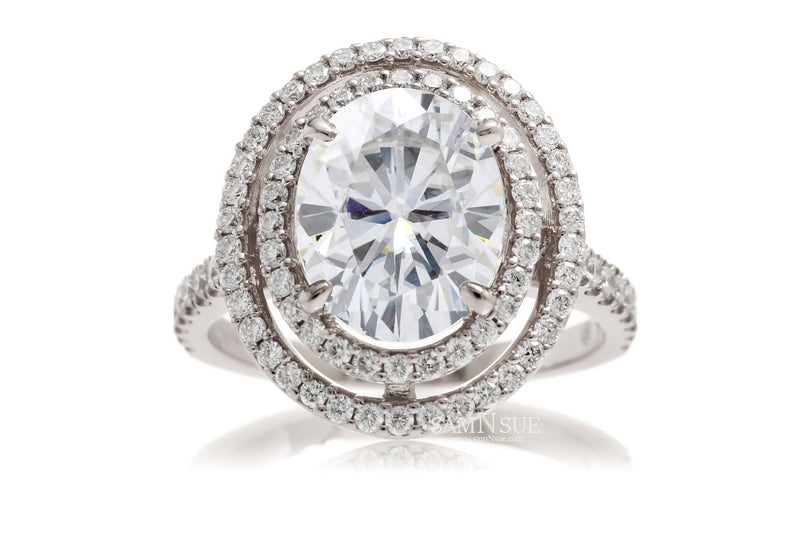 The Steffy Double Halo Oval Moissanite