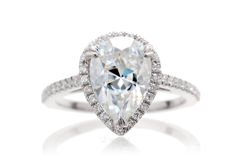 Pear Moissanite Diamond Halo Engagement Ring | The Signature In White Gold Or Platinum