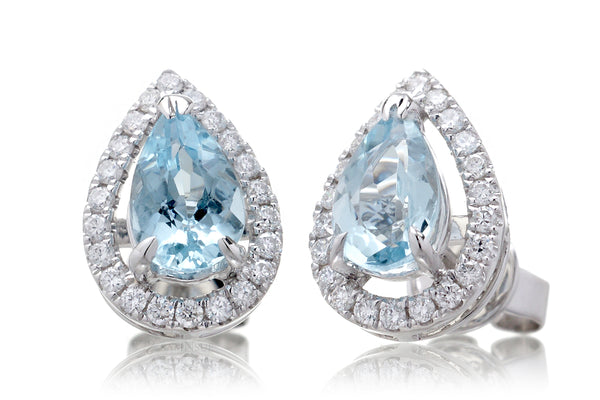 Aquamarine Studs Pear Diamond Halo