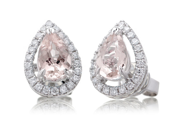 Morganite Studs Pear Diamond Halo