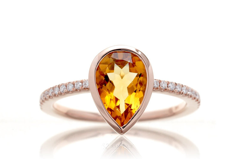 Pear Citrine Bezel-Set Engagement Ring | The Beverly In Rose Gold