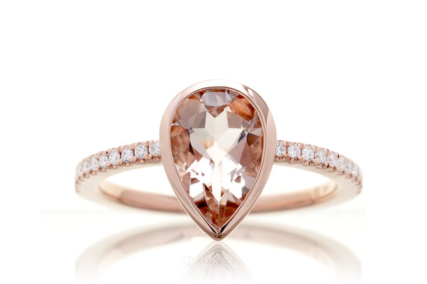 Pear Morganite Bezel-Set Engagement Ring | The Beverly In Rose Gold