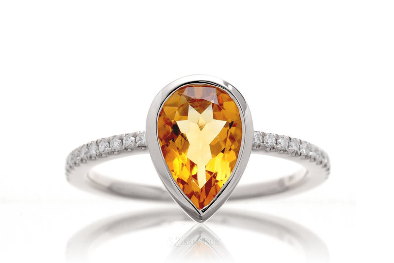Pear Citrine Bezel-Set Engagement Ring | The Beverly In Platinum White Gold