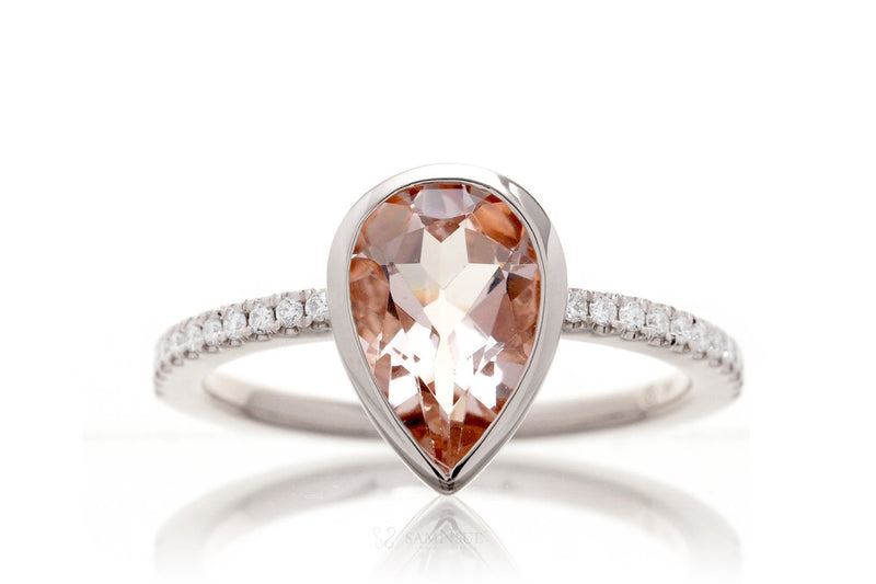 Pear Morganite Bezel-Set Engagement Ring | The Beverly In Platinum White Gold