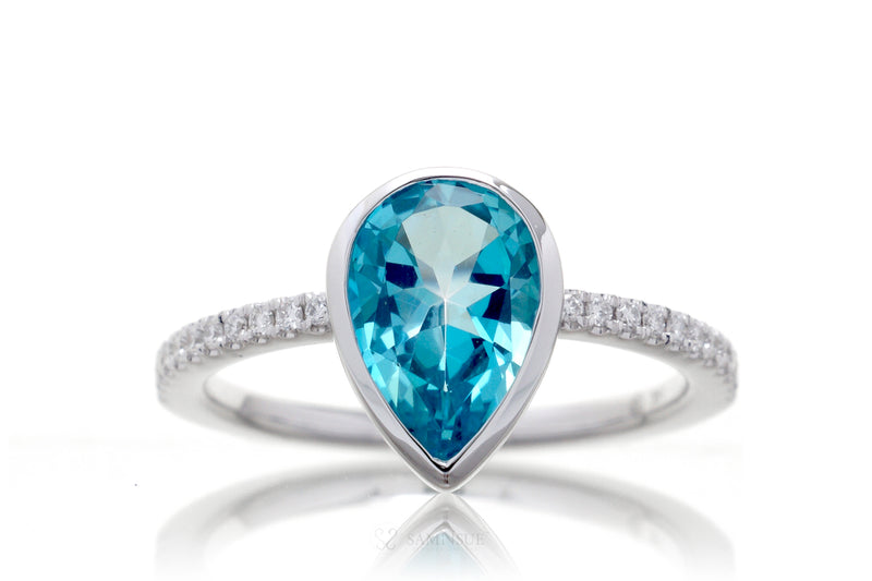Pear Blue Topaz Bezel-Set Engagement Ring | The Beverly