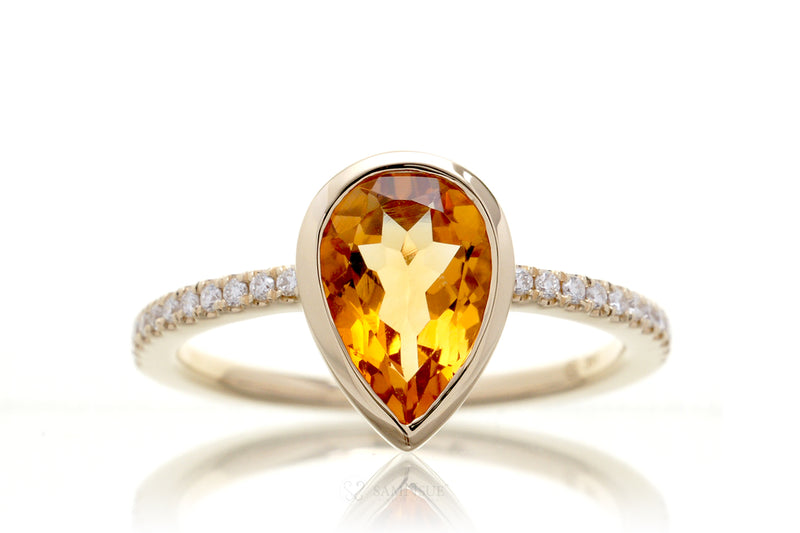 Pear Citrine Bezel-Set Engagement Ring | The Beverly In Yellow Gold