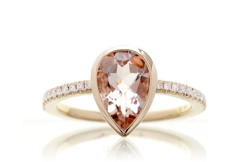 Pear Morganite Bezel-Set Engagement Ring | The Beverly In Yellow Gold