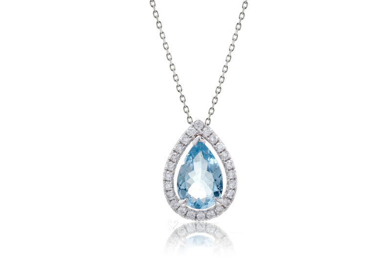 Aquamarine Pear Diamond Halo Pendant (1.35ct. tw.)