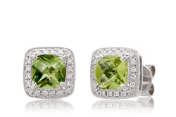 Peridot Cushion Stud Earrings With Diamond Halo in White Gold