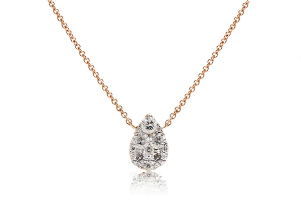 Pear shape cluster diamond pendant - solitaire tear drop diamond necklace in rose gold