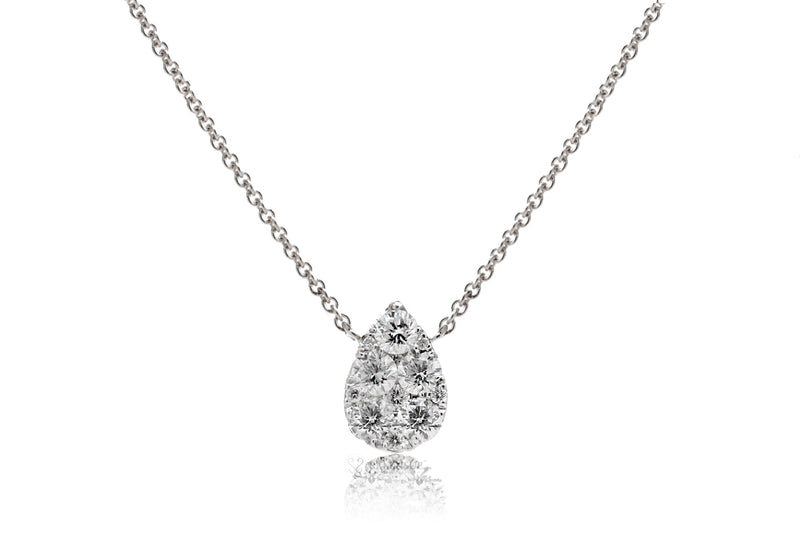 Pear shape cluster diamond pendant - solitaire tear drop diamond necklace in white gold