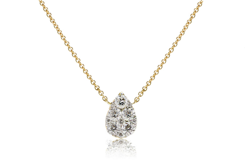 Pear shape cluster diamond pendant - solitaire tear drop diamond necklace in yellow gold