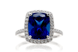 Cushion Chatham Sapphire Engagement Ring With A Diamond Halo | The Caitlin Ring In White Gold