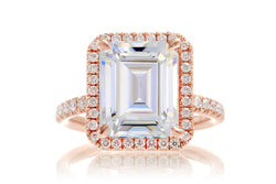 The Drenched Emerald Cut Moissanite