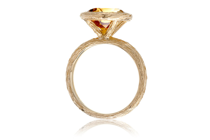 The Twig Round Citrine Ring (10mm)