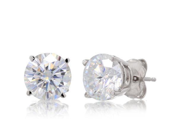 Round Brilliant Stud Moissanite Earrings | Four Prongs White Gold