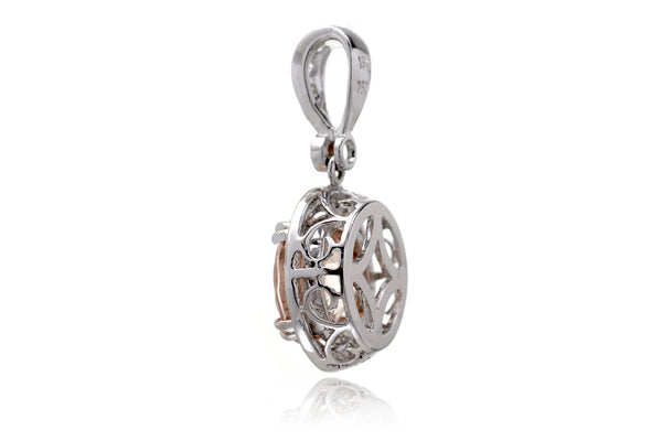The Shelly Round Morganite Pendant (9.6mm)