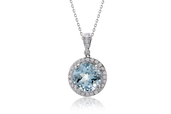 The Shelly Round Aquamarine Pendant (8.8mm)