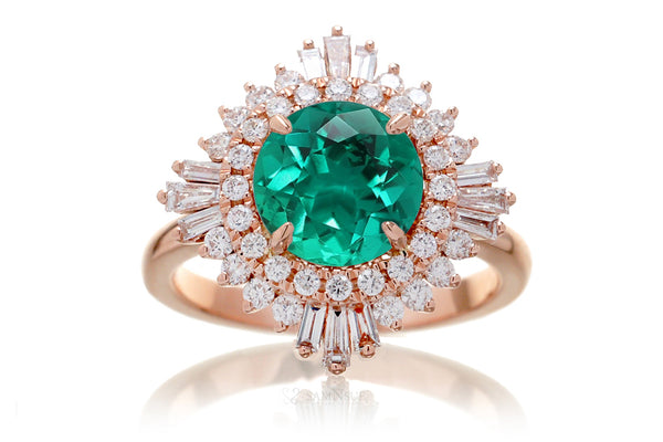 The Sonia Lab Grown Emerald Vintage Design Ring In Rose Gold