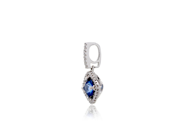 The Round Sapphire With Losange Halo Pendant