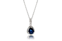 Pear shape sapphire diamond solitaire pendant necklace
