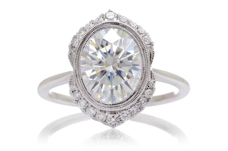 Woman Oval Moissanite Engagement Ring | The Simone White Gold Platinum