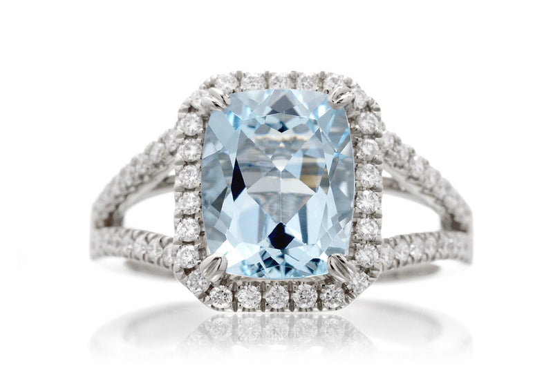 The Signature Split Band Cushion Aquamarine