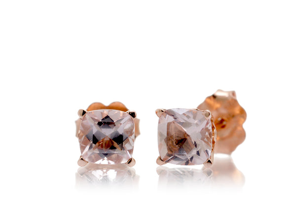 Woman Cushion Morganite Stud Earrings | 5x5mm Rose Gold