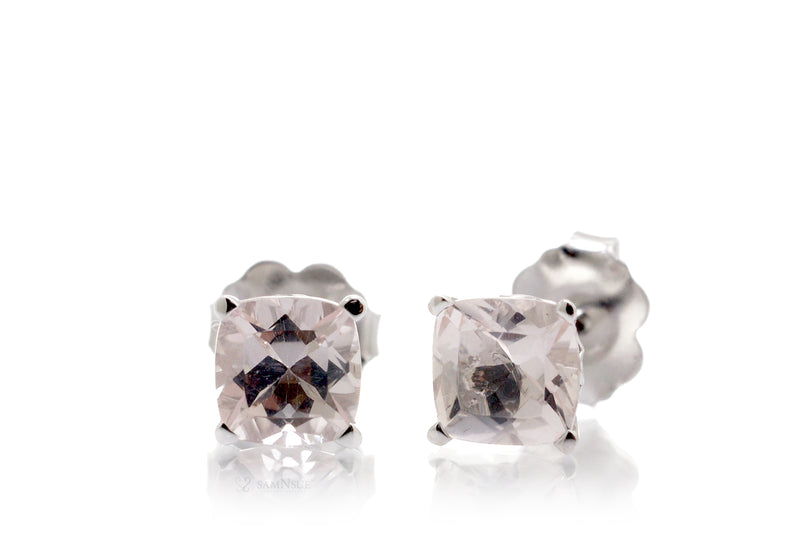 Woman Cushion Morganite Stud Earrings | 5x5mm White Gold