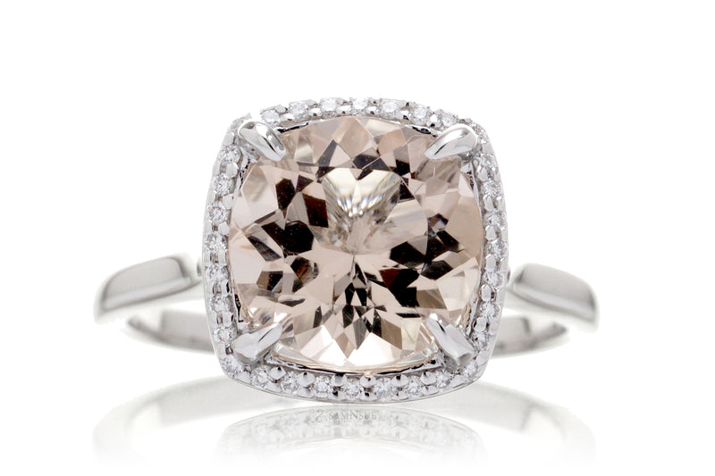 The Steffy Round Morganite With Cushion Halo (10mm)