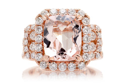 Woman Big Cushion Morganite Engagement Ring | The Sydney In Rose Gold