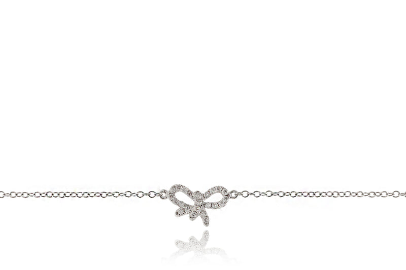 Small Bow Diamond Bracelet In White Gold