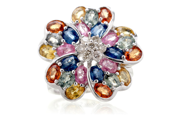 The Multi Sapphire Flower Ring (6.50 ct. tw.)