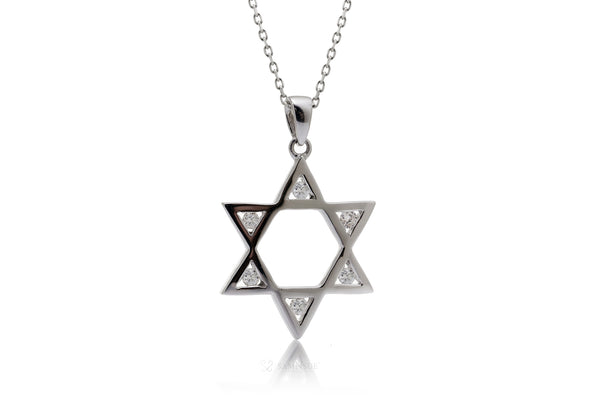 Open Star Of David Diamond Pendant | Jewish Six Point Star In White Gold