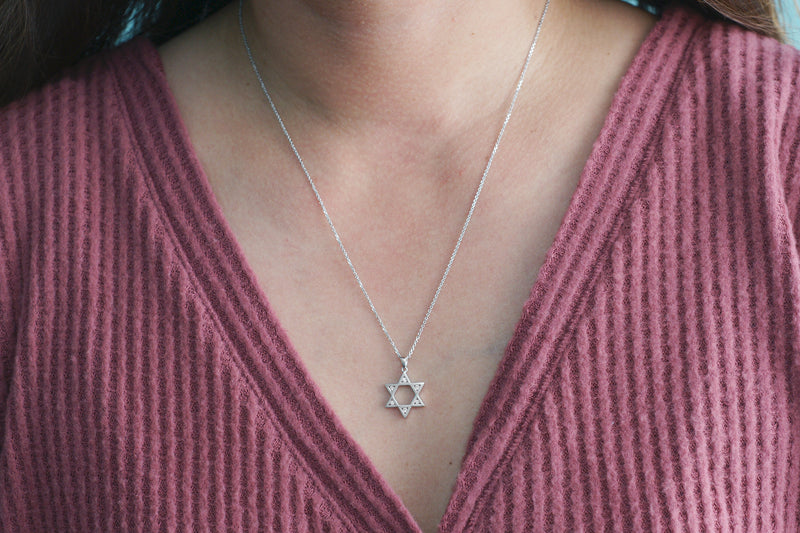 Open Star Of David Diamond Pendant