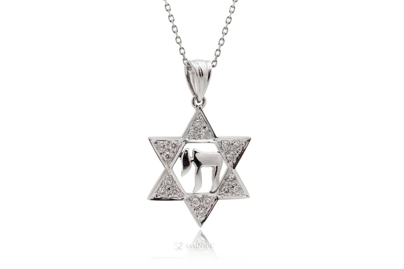 Star Of David Diamond Pendant With Chai