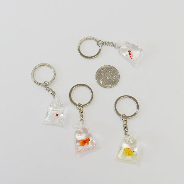 Orange Goldfish in Bag Keychain