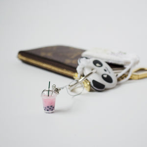 Strawberry Bubble Tea Keychain