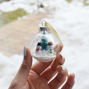 Small Snowman Glass Ornament #1
