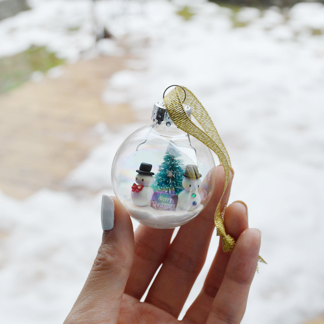 Small Snowman Glass Ornament #2