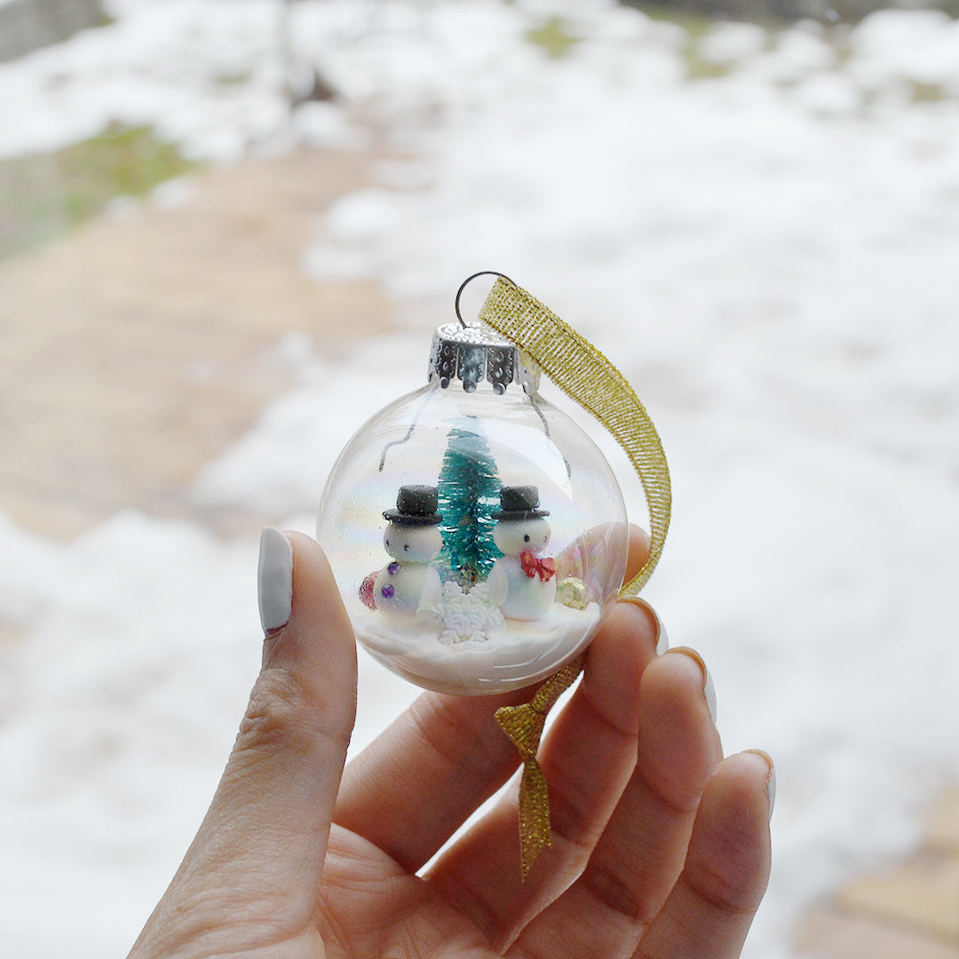 Small Snowman Glass Ornament #3