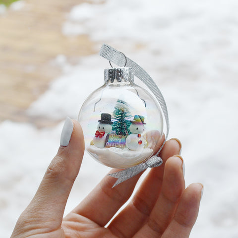 Small Snowman Glass Ornament #4