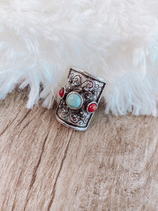 Turquoise and Red Boho Ring